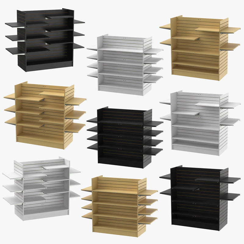 slat wall gondolas shelves 3D