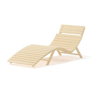 wooden deck chair light wood 3D model