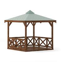 wooden garden gazebo 3D model