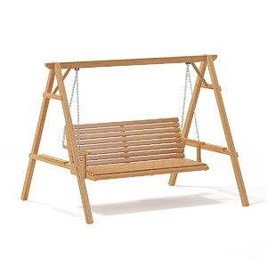 wooden garden swing chair 3D model