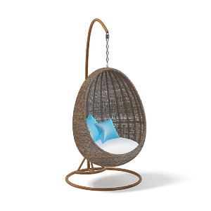 3D wicker hanging chair model