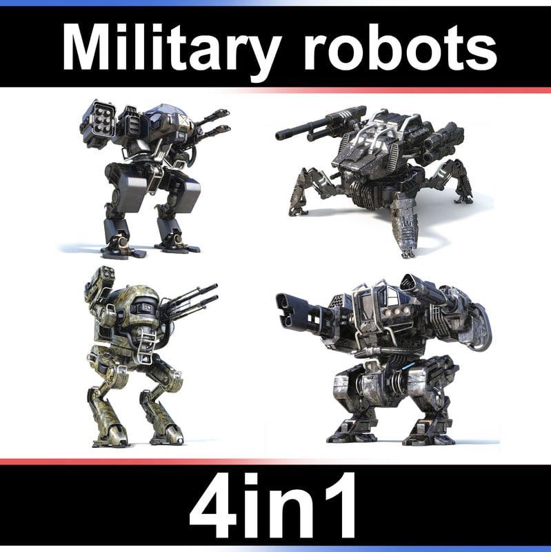 military robots set 4in1 3D model