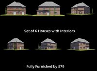 3D set 6 houses interiors model
