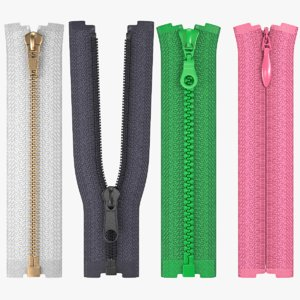 zippers metal nylon 3D model