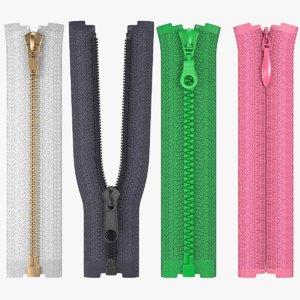 zippers metal nylon 3D model