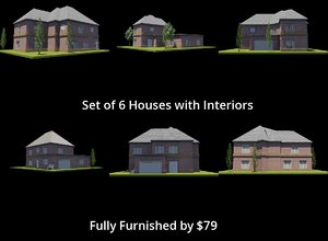 3D 6 houses set interiors model