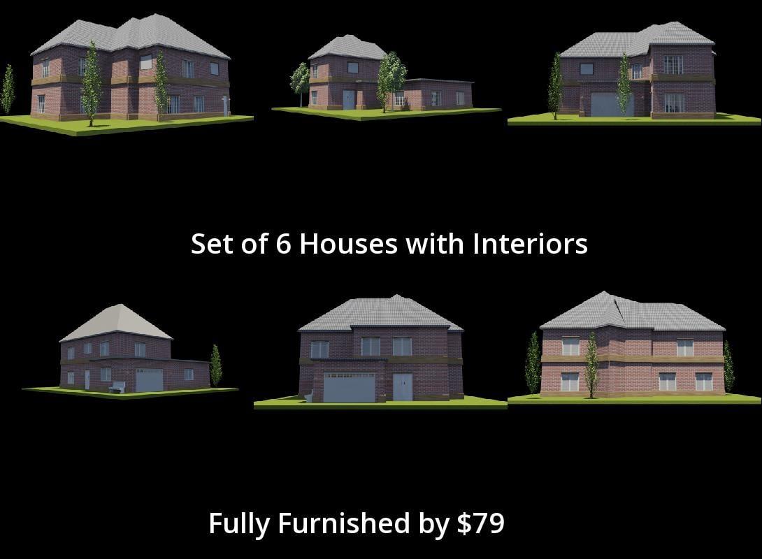 3D 6 Houses Set Interiors Model