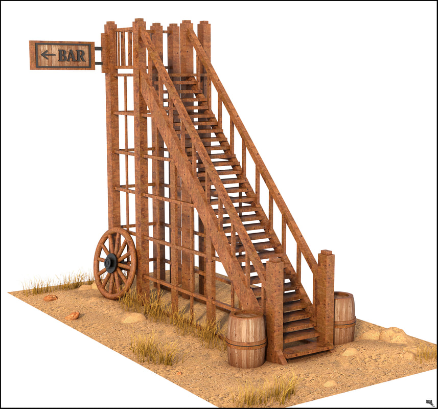 stair western wood 3D model
