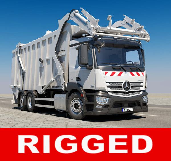 antos garbage truck rigged 3D model