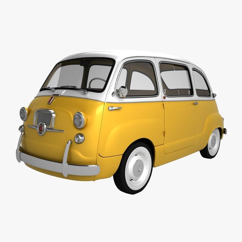 3D fiat 600 multipla 1957 model
