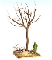 3D tree desert cactus