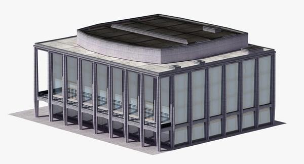 3D modern glass building