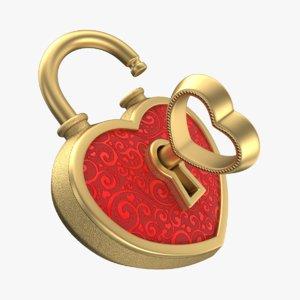 3D model heart lock gold