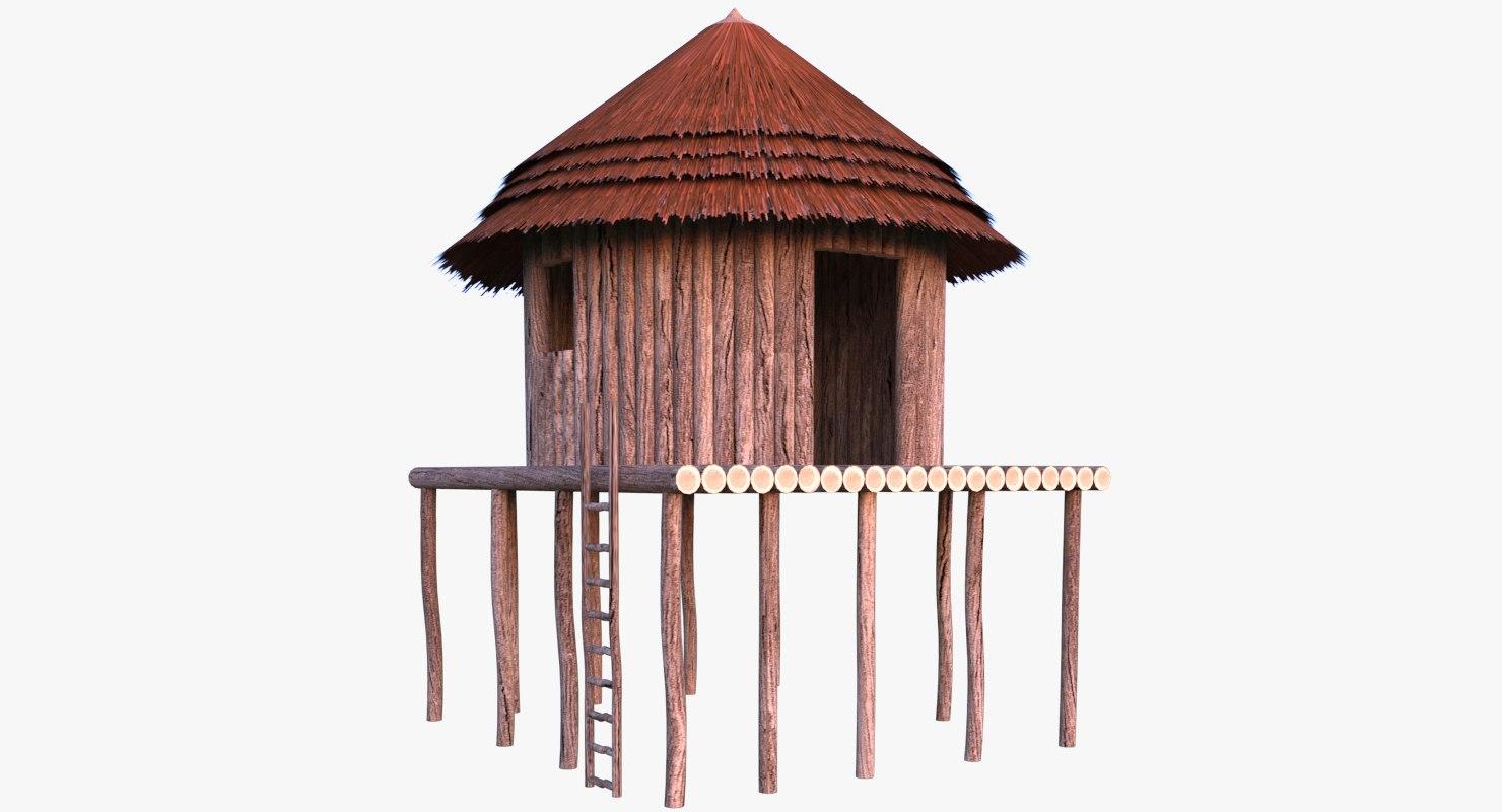 african hut cottage 3D