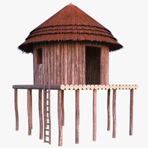 african hut cottage 3D