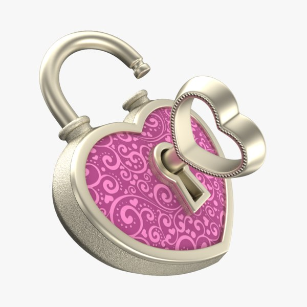 heart lock silver 3D