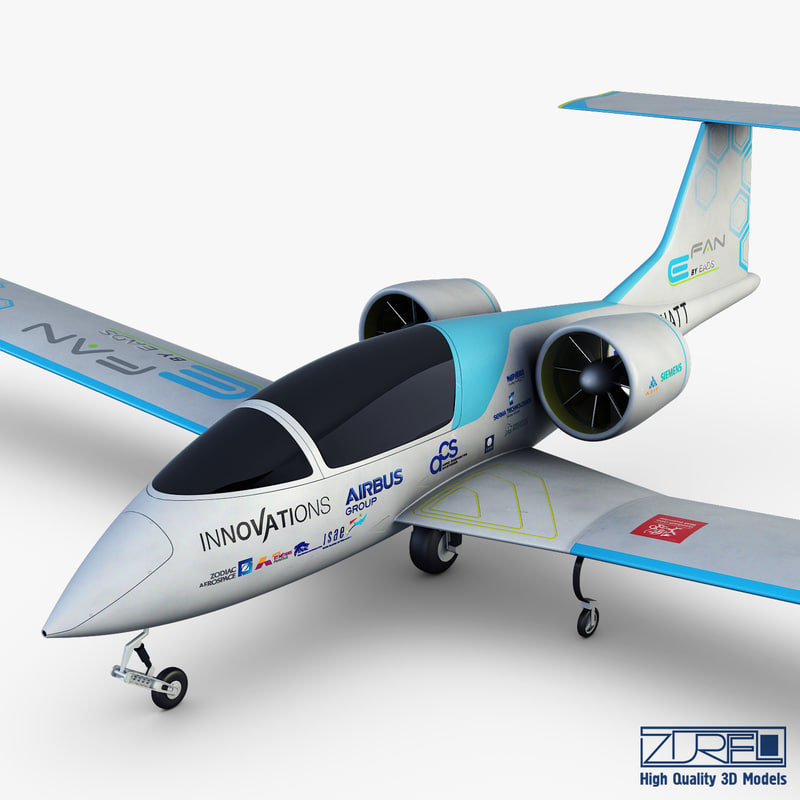 3D model airbus e-fan electric