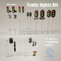 3D trafic lights kit model