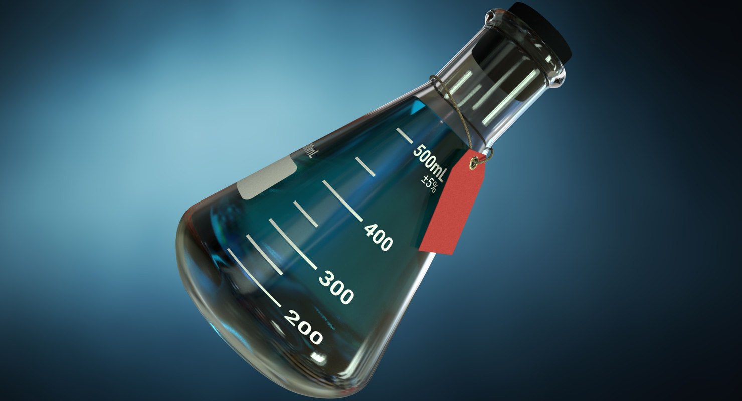 scientific flask - realistic glass 3D model