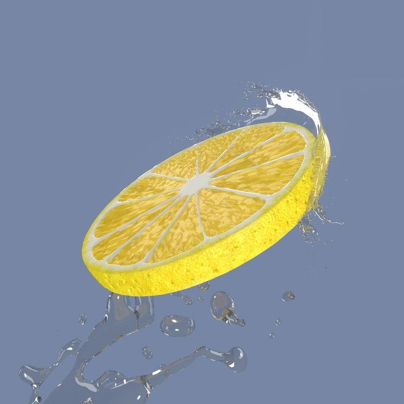 lemon slice water splash 3D model