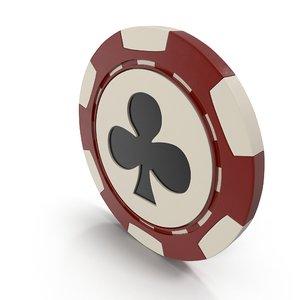 3D clubs casino chip model