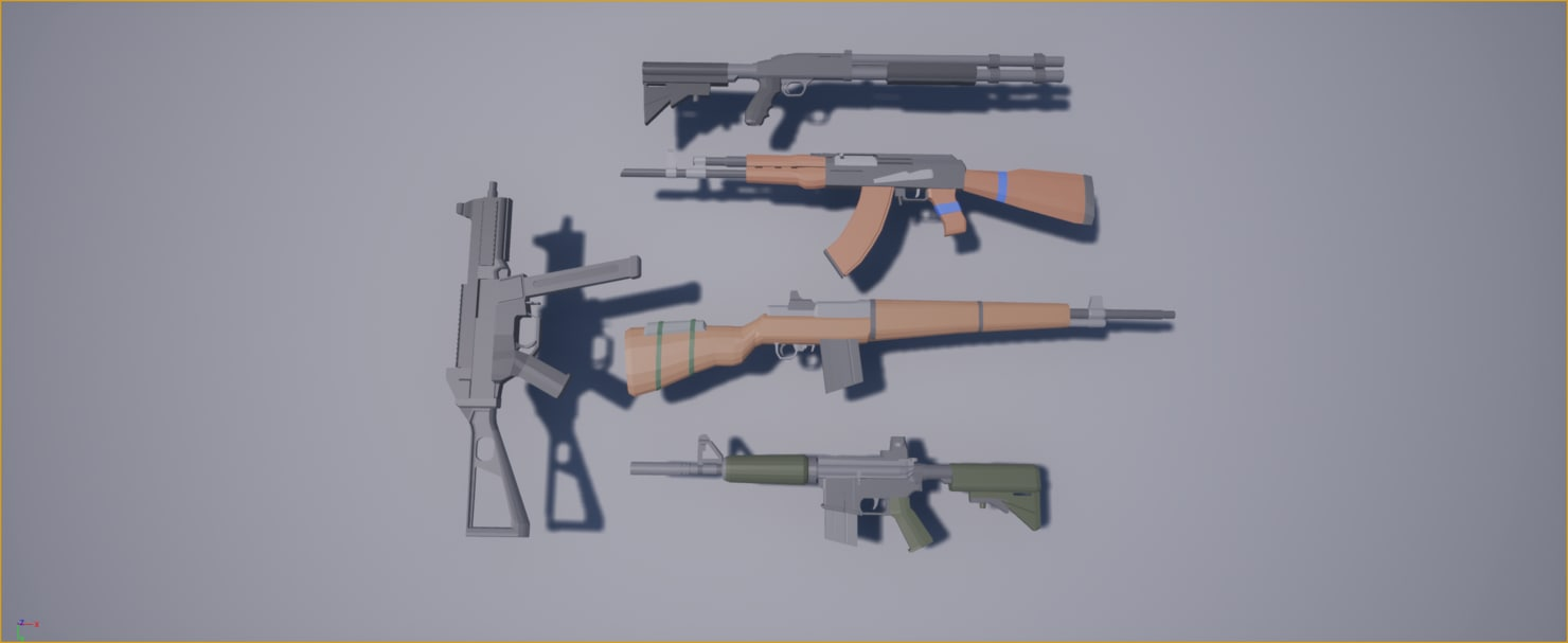 low-poly weapons pack 3D model