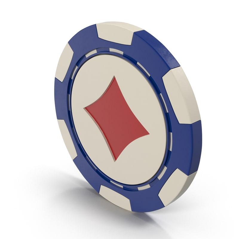 3D diamonds casino chip