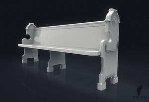 church pew 3D model