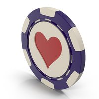 3D model hearts casino chip