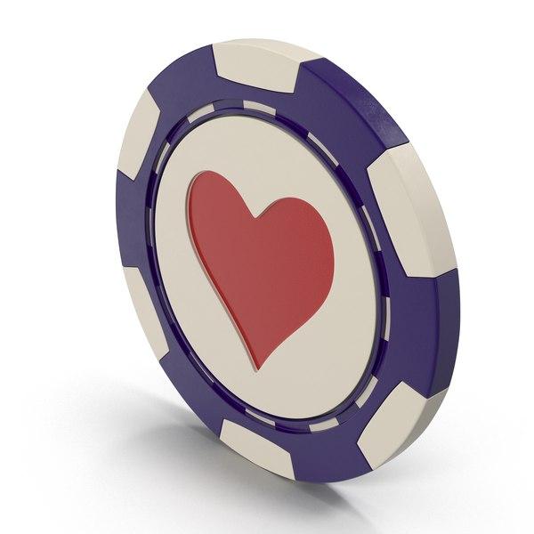 3D model hearts casino chip