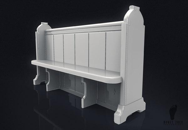 church bench pew 3D model
