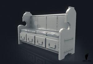 church bench cushions 3D model