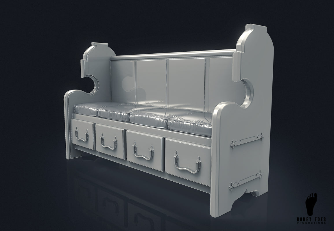 church bench cushions 3D model