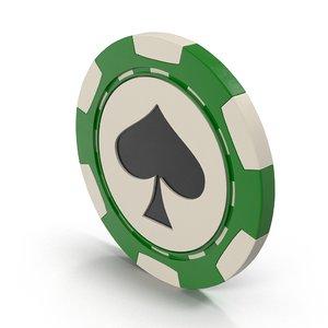 3D spades casino chip