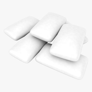 chewing gum pile white 3D model