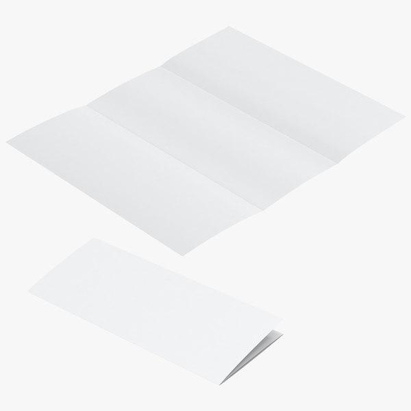 3D model trifold folded mockup mock