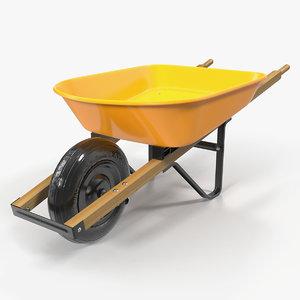 3D wheelbarrow yellow