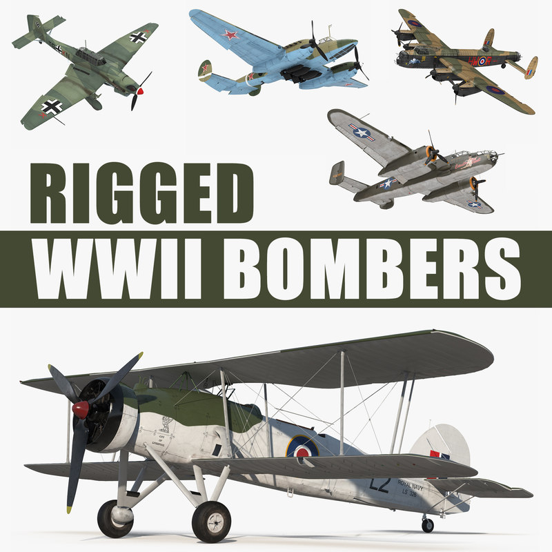 3D wwii rigged bombers