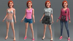 realistic girl rig 3D model