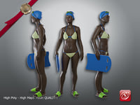 3D female swimmingpool aaf 001