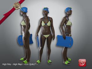 3D female swimmingpool aaf 001