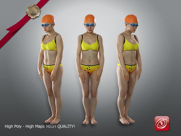 3D female swimmingpool aas 002 model