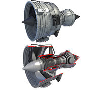 Full and Cutaway Turbofan Engine