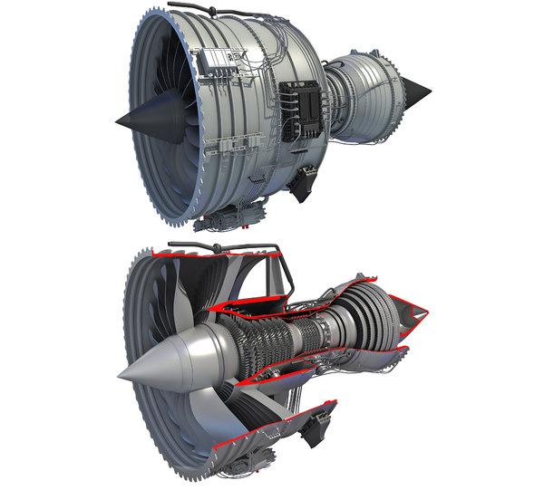 3D turbofan engine cutaway
