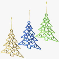 3D model christmas trees ornaments 01