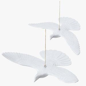 3D turtle dove christmas ornaments model