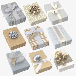 3D christmas wrapped gift 02