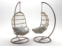 Serena Hanging Rattan Chair 3D