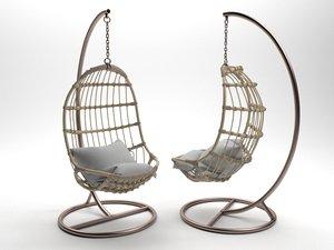 serena hanging rattan chair 3D