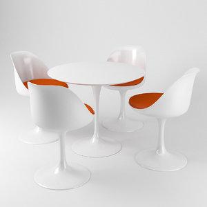 saarinen tulip table chairs 3D model
